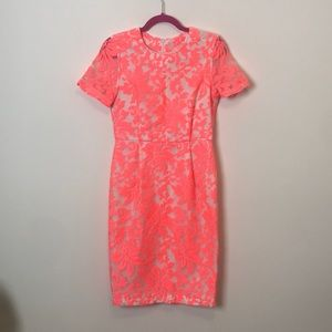 Topshop neon floral lace dress sz 6